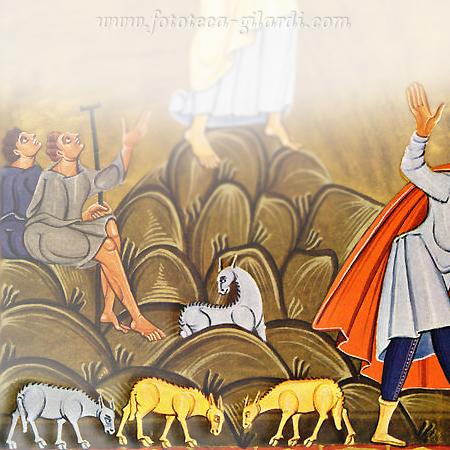 Annuncio ai Pastori della Nascita di Gesù, Stampa da miniatura 1010 circa - elaborazione ©Fototeca Gilardi