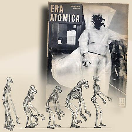 'Era Atomica' alllegato alla rivista 'Lavoro' 1955 con studio sulle origini dell'uomo -elaborazione ©Fototeca Gilardi