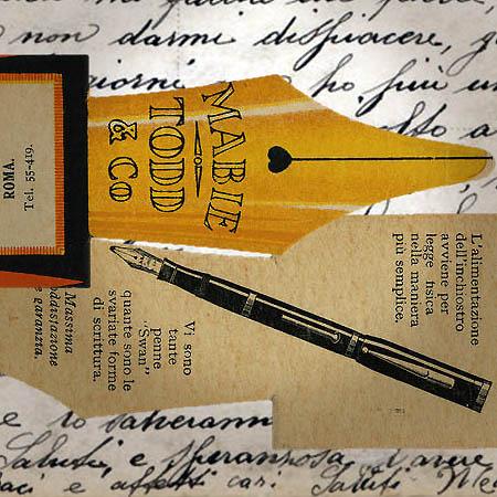 segnalibro pubblicitario per la penna stilografica 'Swan' Pens, 1900 circa elaborazione ©Fototeca Gilardi