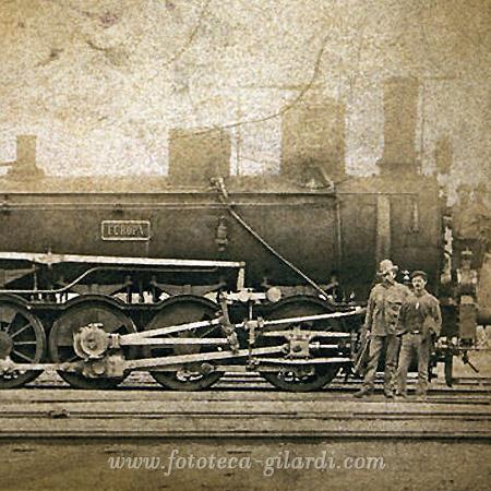 Locomotiva in stazione 1900 circa, ©Fototeca Gilardi