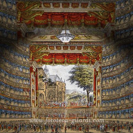 Teatro alla Scala, Milano - veduta del palcoscenico dalla paltea, litografia 1890 elebaorazione ©Fototeca Gilardi