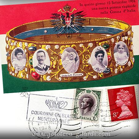 Nascita erede al trono Italia 1904, francobolli con effige di reali, Elaborazione ©Fototeca Gilardi
