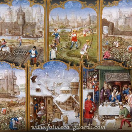 stampe che raffigurano i mesi nel XVI secolo, elaborazione ©Fototeca Gilardi