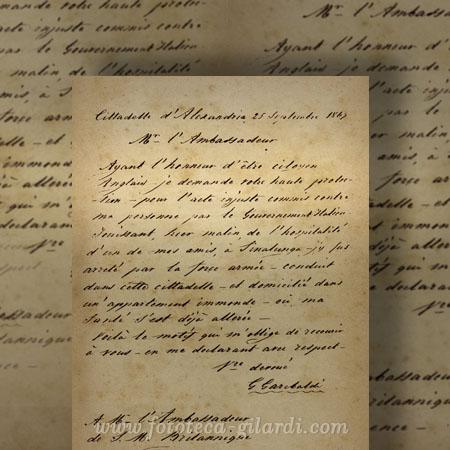 Lettera scritta da Garibaldi, 1867 - Elaborazione ©Fototeca Gilardi
