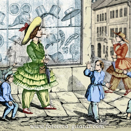 Caricatura del bloomerismo, termine derivato dalla diffusione delle idee femmiste di Amelia Jenks Bloomer - elaborazione ©Fototeca Gilardi