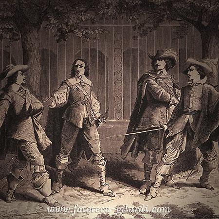 Alexandre Dumas, i Tre Moschettieri e D'Artagnan, stampoa XIX secolo - Elaborazione ©Fototeca Gilardi
