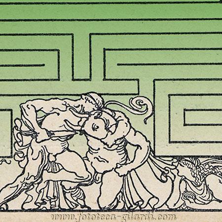 Teseo e Minotauro dal frontespizio di Fedra, D'Annunzio 1909 elaborazione ©Fototeca Gilardi