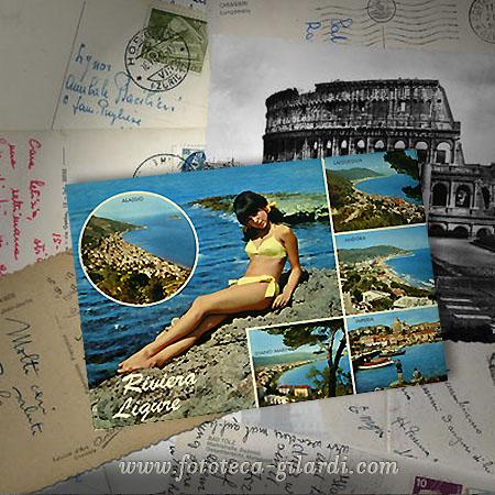 Cartoline dalle vacanze, anni 60 e precedenti del secolo scorso,  elaborazione ©Fototeca Gilardi