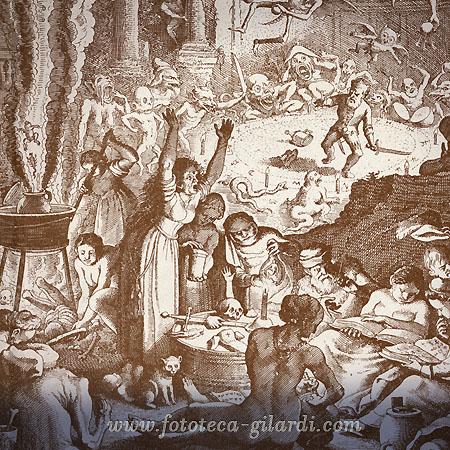sabba di streghe, incisione del XVII secolo elaborazione ©Fototeca Gilardi