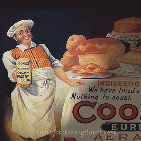 il cuoco pubblicizza la farina per dolci, Gran Bretagna XIX secolo,  elaborazione ©Fototeca Gilardi