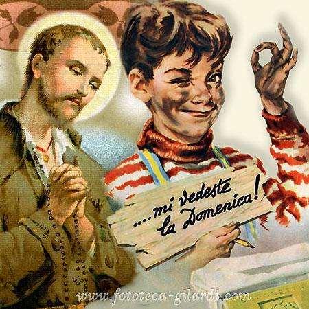 Nesso e immagine: un santino e pubblicità combinate in una sola immagine evocano il titolo del post , elaborazione ©Fototeca Gilardi
