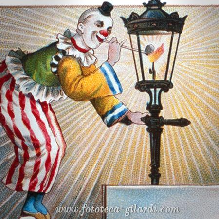 giochi di clown intorno ad un lampione, cromolitografia XX secolo elaborazione ©Fototeca Gilardi