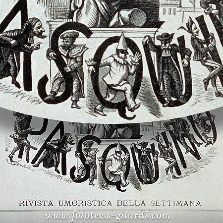 Testata de 'Il Pasquino', settimanale umoristico di Torino metà del XIX secolo, elaborazione ©Fototeca Gilardi