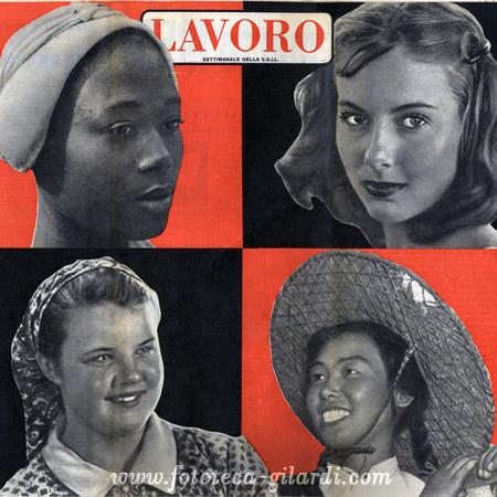 A tutte le donne del mondo auguri di pace per l'8 marzo, da Lavoro 1955 elaborazione ©Fototeca Gilardi