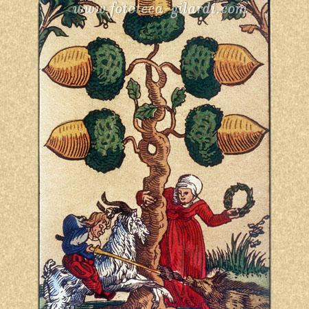carte da gioco, 5 di ghiande - Germania 1545 elaborazione ©Fototeca Gilardi
