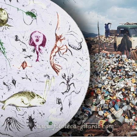 inquinamento dell'acqua XIX secolo, e montagne di rifiuti XX secolo - elaborazione ©Fototeca Gilardi