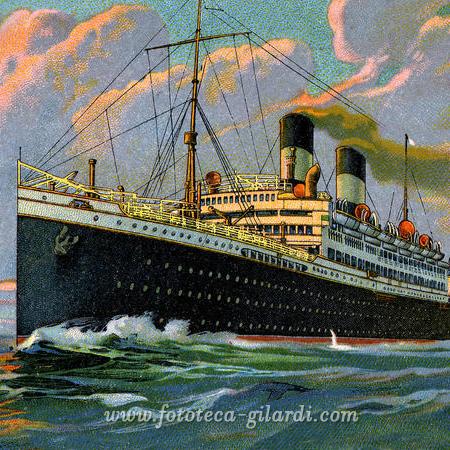 transatlantico in viaggio, Cromolitografia 1922 - Elaborazione ©Fototeca Gilardi