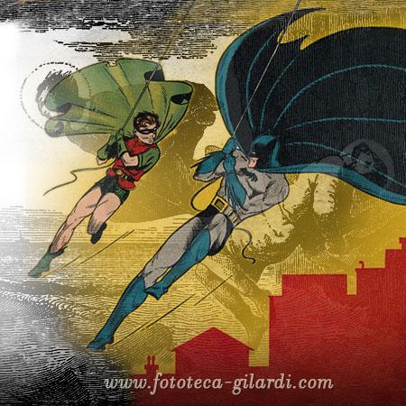 coppia di Supereoi in azione sullo sfondo una coppia di Santi - elaborazione ©Fototeca Gilardi