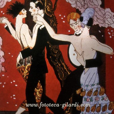 coppie ballano un appassionato tango, illustrazione 1919 elaborazione ©Fototeca Gilardi