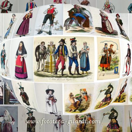 Costumi tradizionali  varie stampe depoca, elaborazione  ©Fototeca Gilardi