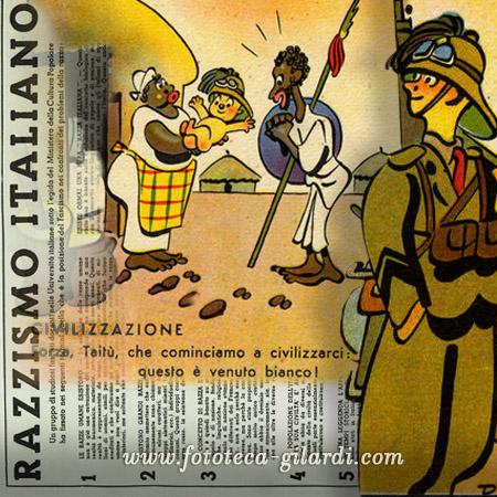regime fascista, Italia anni Trenta: propaganda coloniale caricaturale e manifesto della razza;  elaborazione ©Fototeca Gilardi