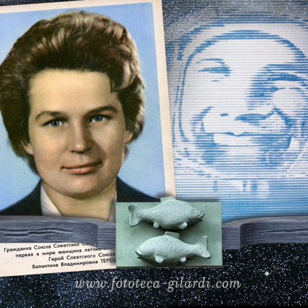 Valentina Teresckova, prima donna nello spazio. Cartolina postale , elaborazione ©Fototeca Gilardi