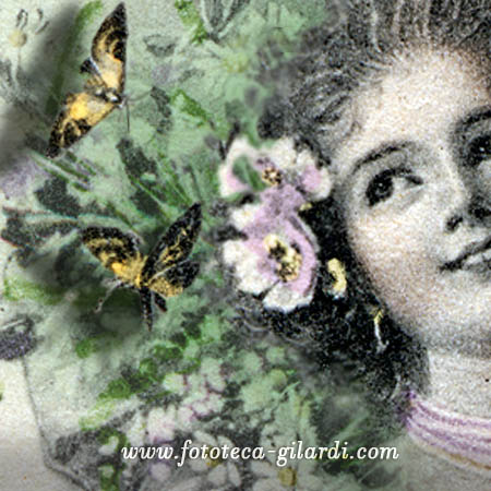 giovane Flora,  allegoria da cartrolina postale, Vienna 1907 - elaborazione ©Fototeca Gilardi