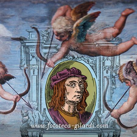 ritratto di Raffaello da 'Le Vite' di Giorgio Vasari e dettaglio della Galatea, elaborazione ©Fototeca Gilardi