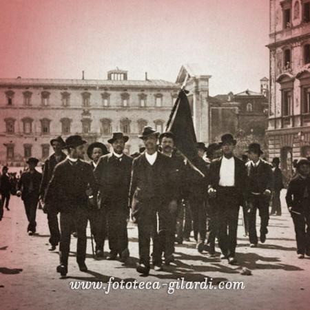Manifestazione pacifica a Roma, 1 maggio 1891 - elaborazione ©Fototeca Gilardi