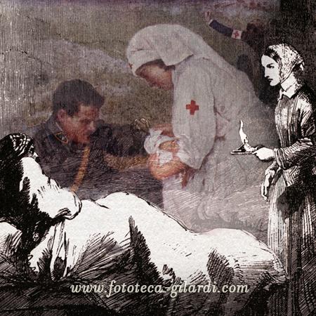 Florence Nightingale e la cura dei soldati feriti, elaborazione ©Fototeca Gilardi