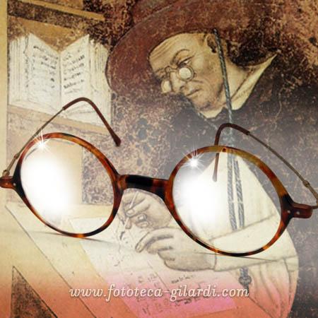 frate domenicano XIV secolo indossa gli occhiali, eleborazione ©Fototeca Gilardi