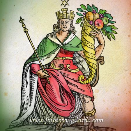Allegoria dell'Italia, incisione colorata dalla Iconologia di Cesare Ripa, elaborazione ©Fototeca Gilardi