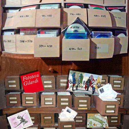 Fototeca Gilardi - l'archivio con le schede cartacee si trasforma gradualmente in digitale: le cassette della parte superiore contengono DVD