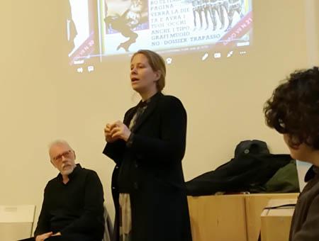 Marta Sironi alla presentazione del  DVD Officina Phototeca,  Spazio B**K, Milano maggio 2019