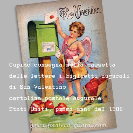 San Valentino, cartolina postale augurale dei primi anni del 1900