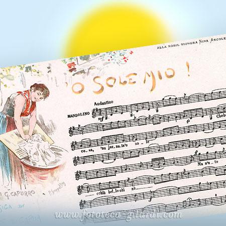 Musica e parole della canzone napoletana 'O' Sole mio'. Versi di Giovanni Capurro, musica di Eduardo Di Capua, 1898 Elaborazione ©Fototeca Gilardi