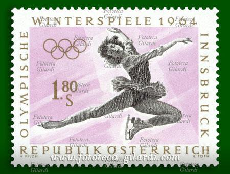 Pattinaggio - Francobollo dedicato alle olimpiadi invernali, Austria, Innsbruck 1964