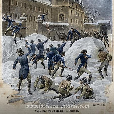 Napoleone gioca  a palle di neve, incisione colorata ©Fototeca Gilardi