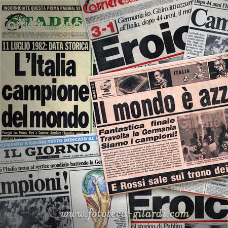 la notizia sui giornali, Italia Campione del mondo ai Mondiali di calcio Spagna 1982, ©Fototeca Gilardi