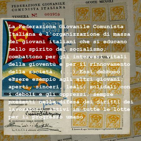tessera Federazione Giovanile Comunista Italiana, 1951 - foto Patrizia Piccini elaborazione ©Fototeca Gilardi