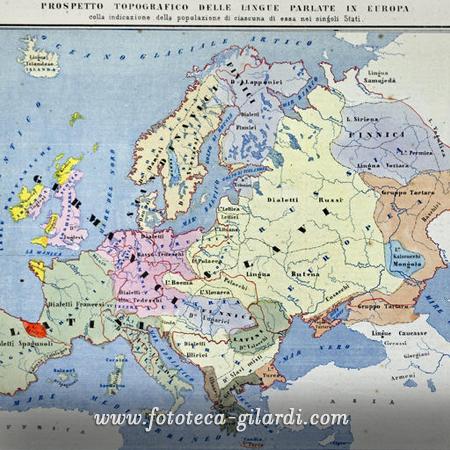 MAPPA TOPOGRAFICA DELLE LINGUE PARLATE IN EUROPA